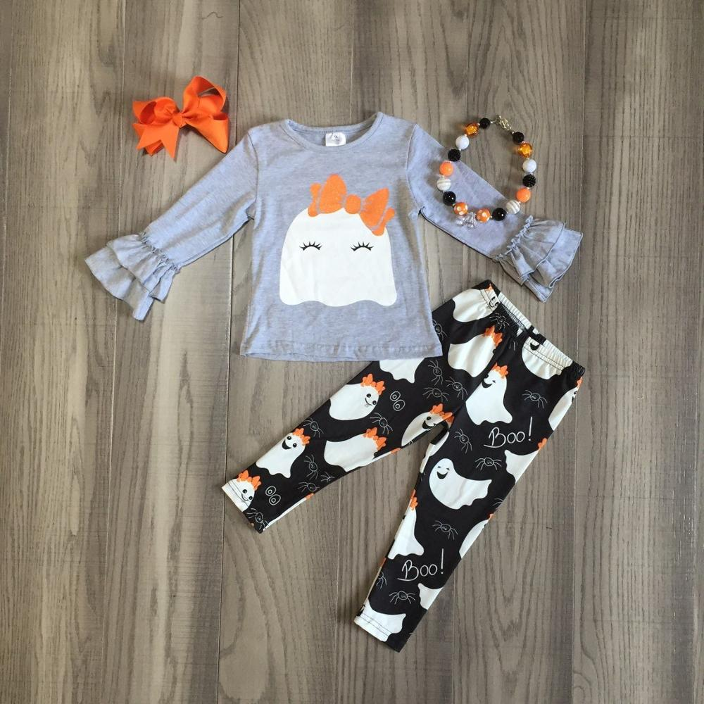 Halloween Baby Girls Ghost Outfit Long Sleeve Ruffle Lace Shirts Tops Bell Bottom Pants Clothes Set
