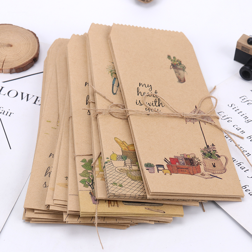 5PCS Creative Kraft Paper Envelope Scrapbooking DIY Decorative Envelope Gift School Office Supplies