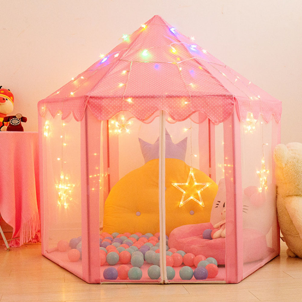 Children's Tent Portable Children's Tent Ball Pool Princess Girl's Castle Playhouse Kids Small House Baby Folding Beach Wigwam