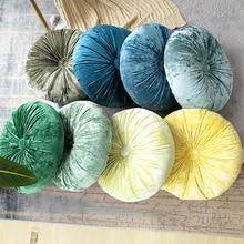 Fashion Design Round Cushion Handmade Pumpkin Velvet Pillow Office Waist Sofa