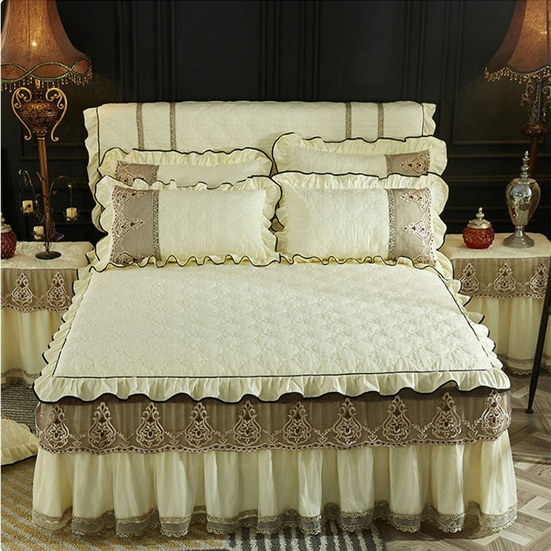 Beige Bed Skirt Pillowcases With Cotton Home Textile Luxury Lace Bedding Mattress Cover Warm Thick Bedspread Bed Sheet Linen