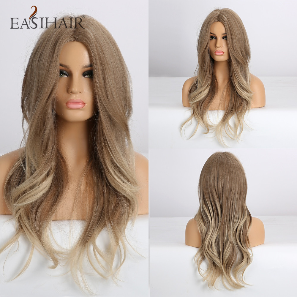 EASIHAIR Blonde Ombre Synthetic Wigs Long Wave Middle Part Wigs For Women Afro Natural Fake Hair Heat Resistant Cosplay Wig