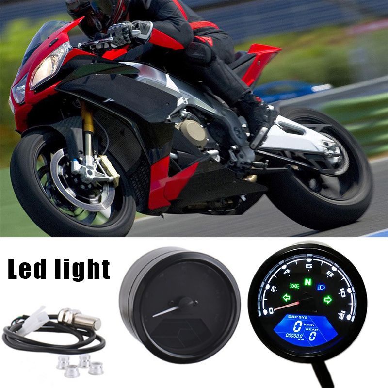 Universal 12V Digital Motorcycle SpeedMeter Odometer Tachometer Gauge Backlit Dual Speed LCD Screen with LED Indicator for Honda image