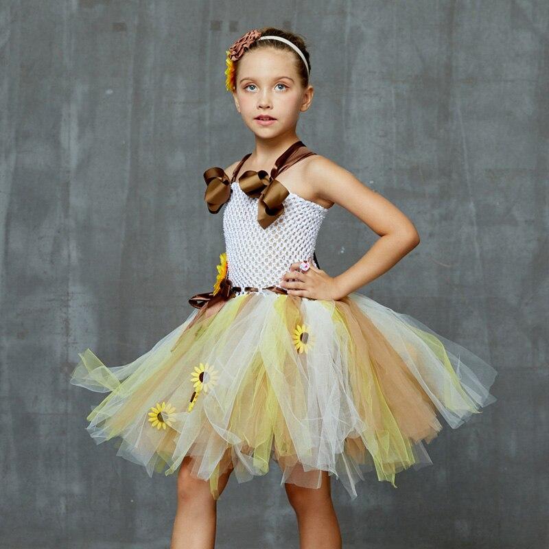 Sweet Sunshine Sunflower Tutu Dress with Matching Headband Flower Girl Bridal Birthday Pageant Costume Kids Autumn Dresses (2)