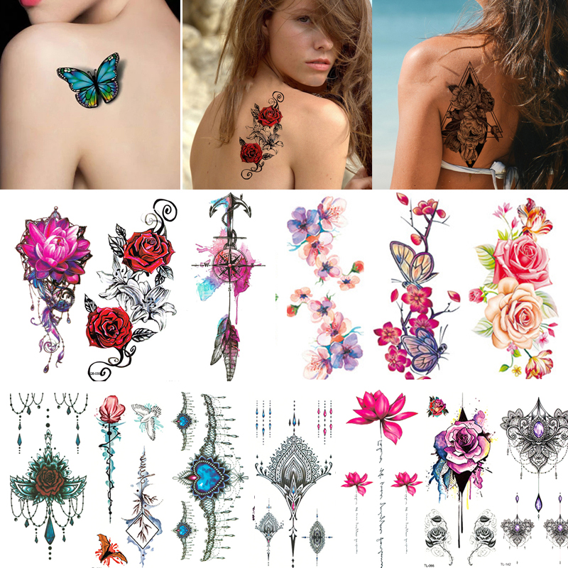 2/3/4/5/7Pcs Waterproof Temporary Tattoo Sticker For Women Men Body Arm Fake Tattoo Sticker Flash Tattoos Sleeve Flower Stickers