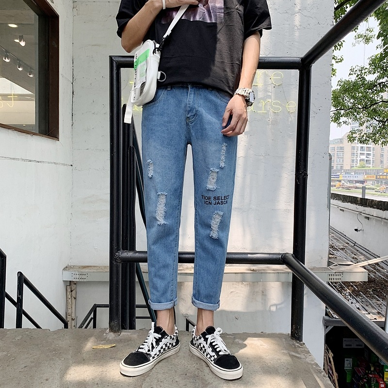 Hong Kong Style MEN'S Pants INS Trend Straight-Cut Capri Pants Korean-style Versatile 2019 New Style Students With Holes Cowboy