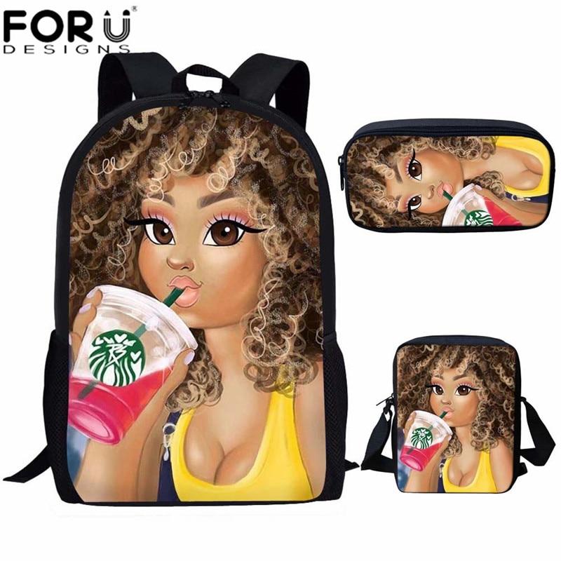 FORUDESIGNS Kids Backpack Girls School Bags Set For Children Black Art African Girl Print Bagpack Toddlle Back Pack Bolso Afro