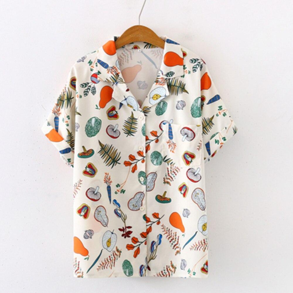 2020 Summer Fruit And Vegetable Print Notched Blouse Women Chiffon Button Up Chic Shirts Streetwear Elegante Shirts Plus Size