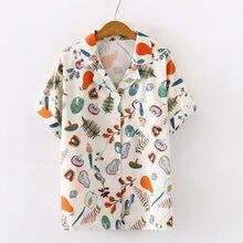 2020 verão frutas e vegetais impressão entalhado blusa feminina chiffon botão up chic camisas streetwear camisas elegantes plus size