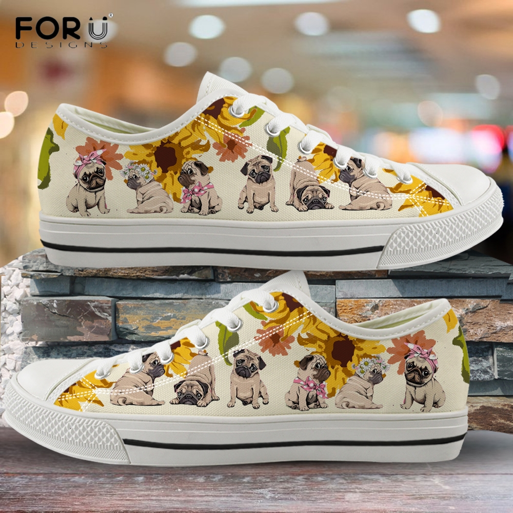 FORUDESIGNS Yellow Sunflower Pattern Pug Dog Pattern Woman Shoes Sneakers 2019 New Spring/Autumn Low Top Shoes Light Ladies Shoe