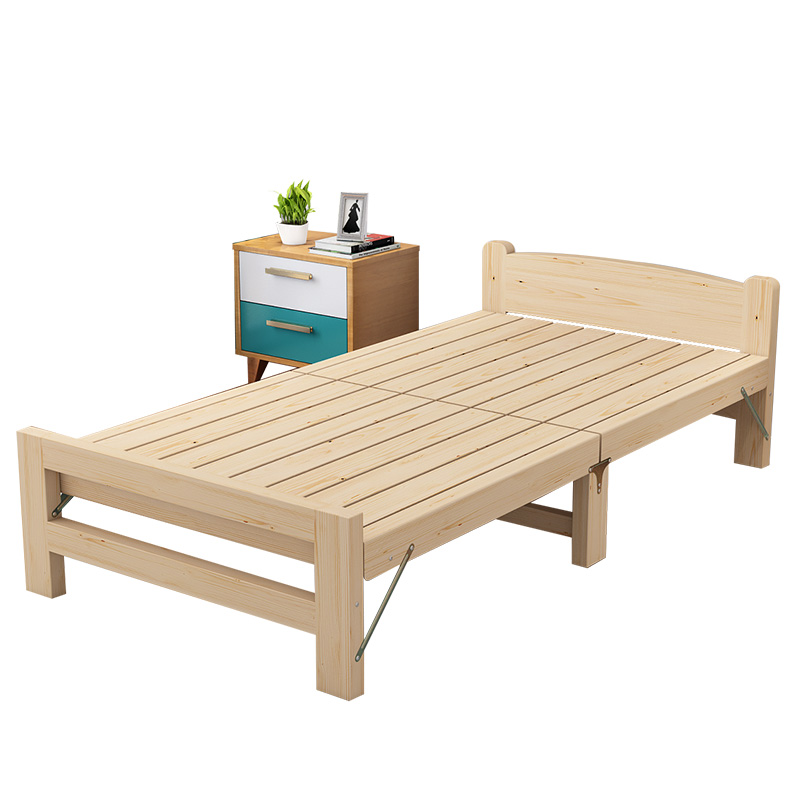 For sale Simple and Economical Foldable Cot Household Adult Solid Wood Bed Apartment Hotel School Single Student Bed|  - title=