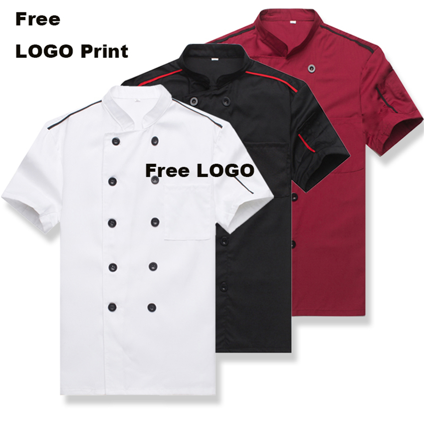 Catering Chef Uniform Jacket Men Kitchen Short Sleeves Plus Size Women  Restaurant Uniforms Shirts Apron Bakery Cook Clothing