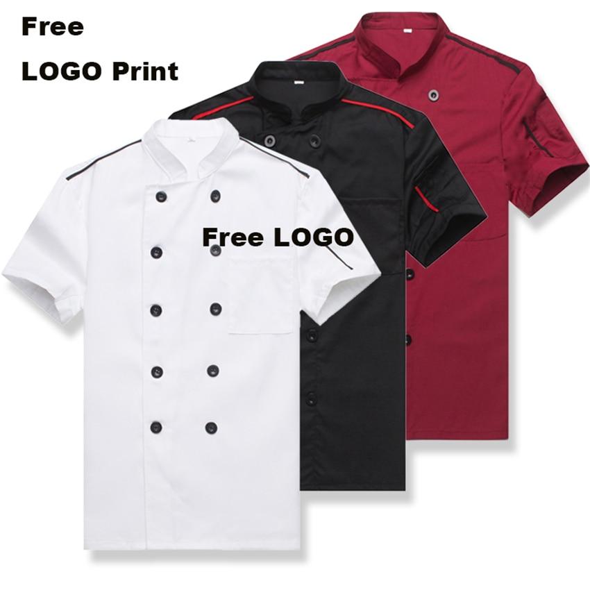 Catering Chef Uniform Jacket Men Kitchen Short Sleeves Plus Size Women  Restaurant Uniforms Shirts Apron Bakery Cook Clothing