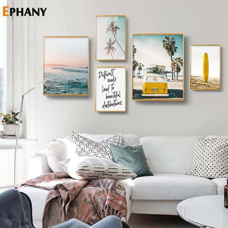 California Ocean Landscape Canvas Poster Nordic Beach Yellow Bus Wall Art Print Painting Surf Picture Scandinavian Home Decor