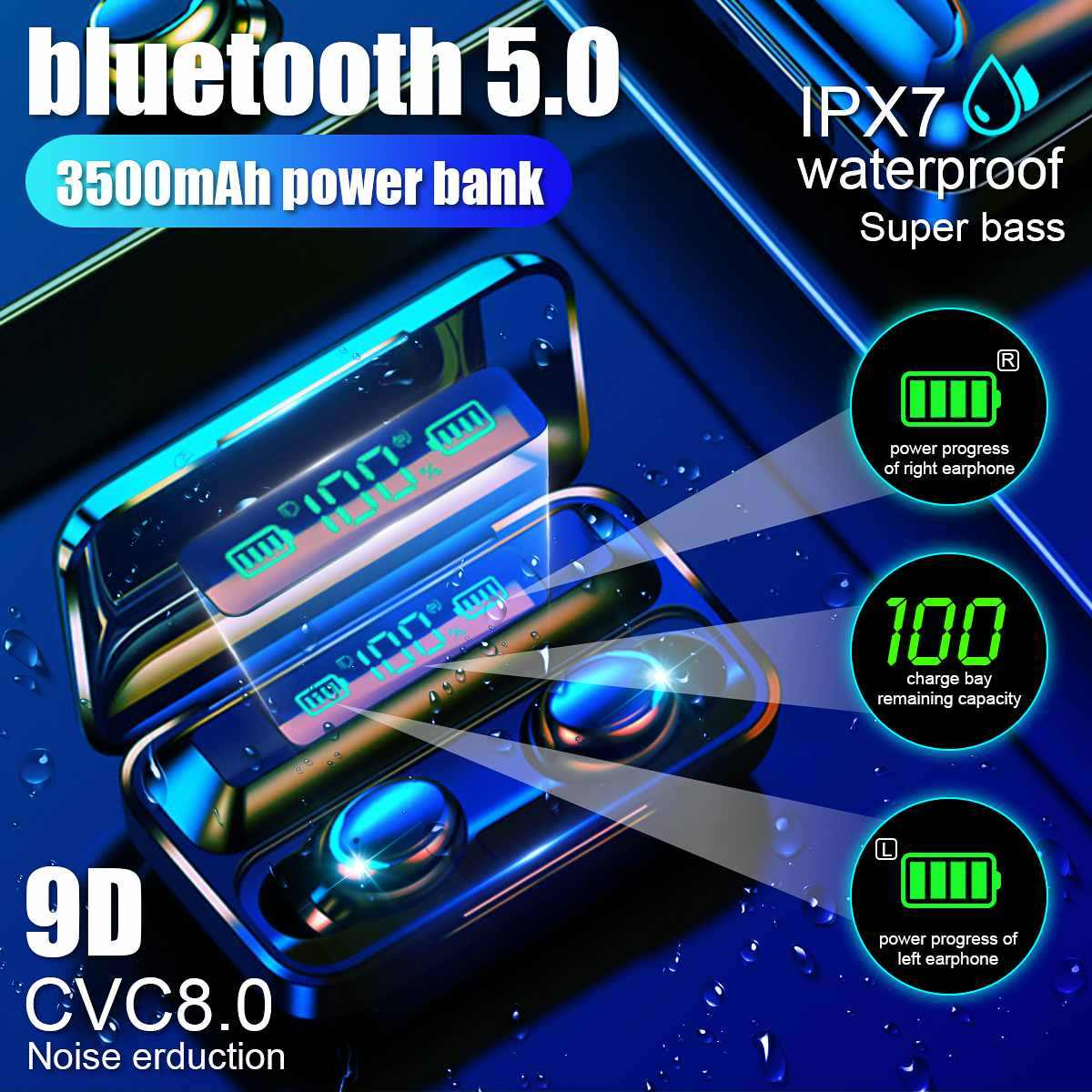 Tws Bluetooth Oortelefoon V5.0 Touch Draadloze Oordopjes 9D Stereo Sport Waterdichte Headset Handsfree Led Power Display Met Mic