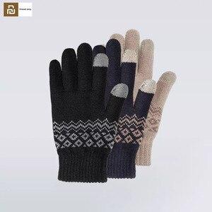 Image 1 - Youpin için parmak dokunmatik ekran eldiveni için kadın erkek kış sıcak kadife eldiven ekran Tablet telefon doğum günü/noel hediyesi