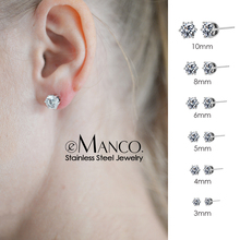 e-Manco 6 Size stud earrings for women classic luxury earrings women Minimalist Bling Zircon earring fashion ear stud jewelry