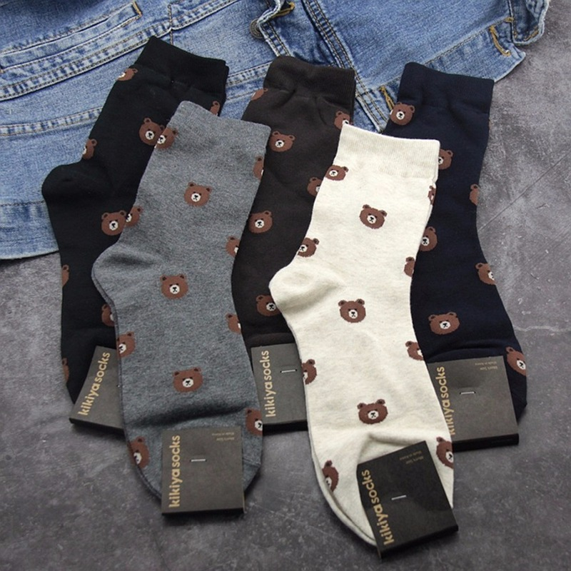 Cartoon Bear Print Socks Business Casual Compression Street Men Sock Autumn Winter Warm Sweat Absorption Black Cotton Crew Socks