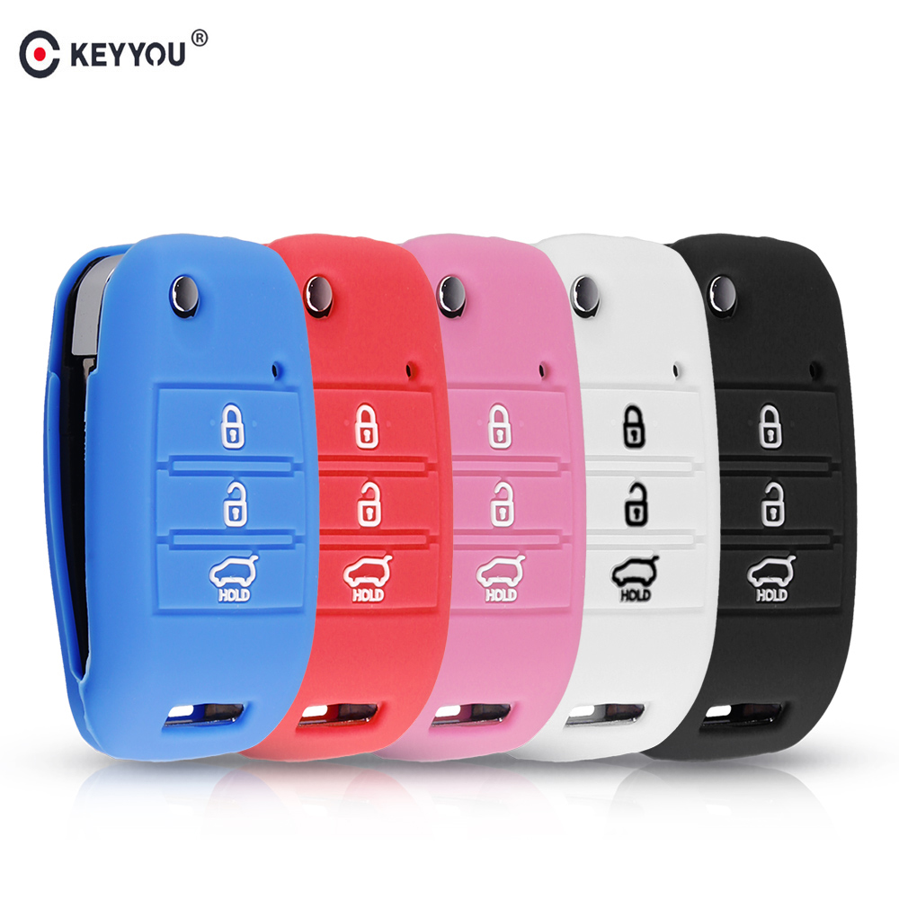 KEYYOU 3 Buttons Silicone Car Key Cover Case For KIA Sid Rio Soul Sportage Ceed Sorento Cerato K2 K3 K4 K5 Auto Case Protection