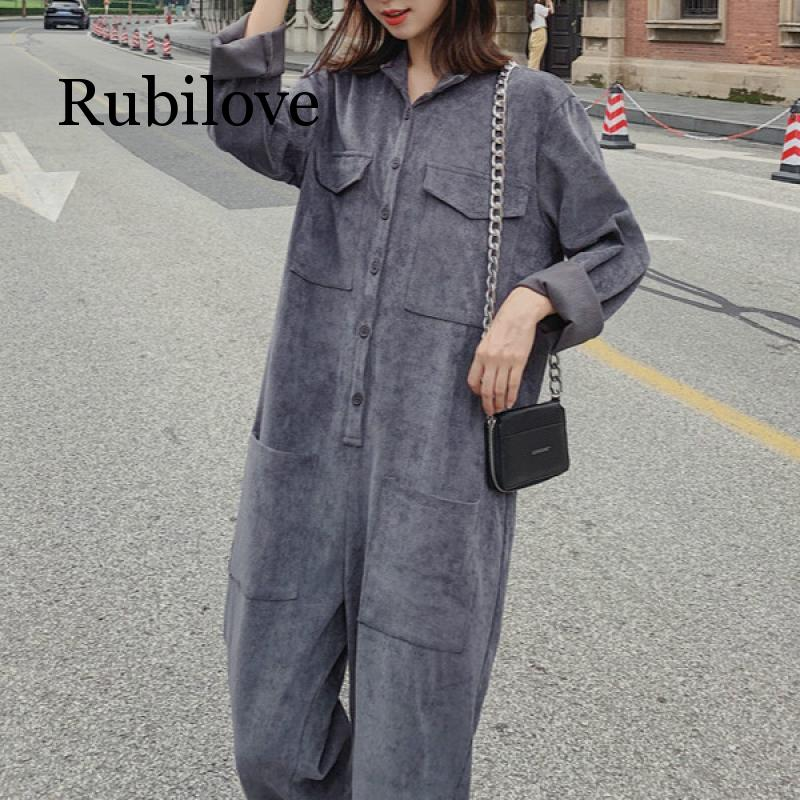 2020 Fashion Woman Grey Corduroy Overalls Autumn Casual Multi-pocket Loose Jumpsuits Big Yards One Piece Outfits Streetwear