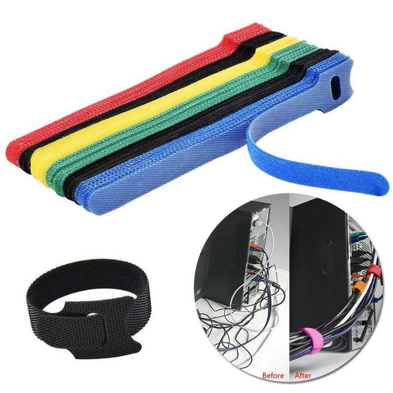 10 шт клейкая петля крюк нейлон и ремень кабельные стяжки многоразовые