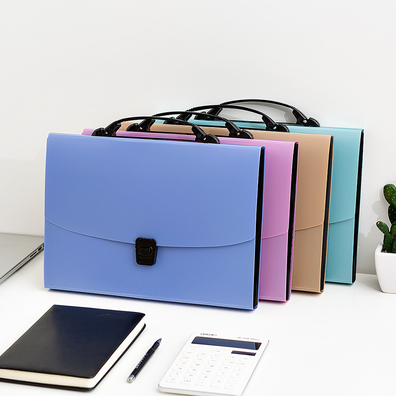 Fashionable Office File Folder Expanding Wallet Document Organizer File Folder A4 4 Colors Available Folder Office Supplies