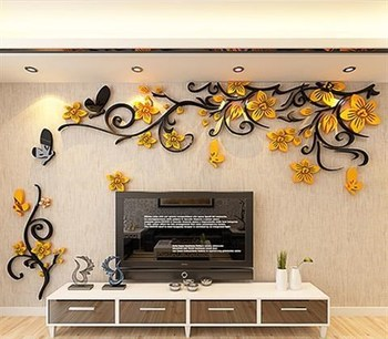 DIY Removable Vinyl Flower Wall Sticker Modern Decals For Wall Decor TV Background Decoration Mural Wallpaper For Living Room 8