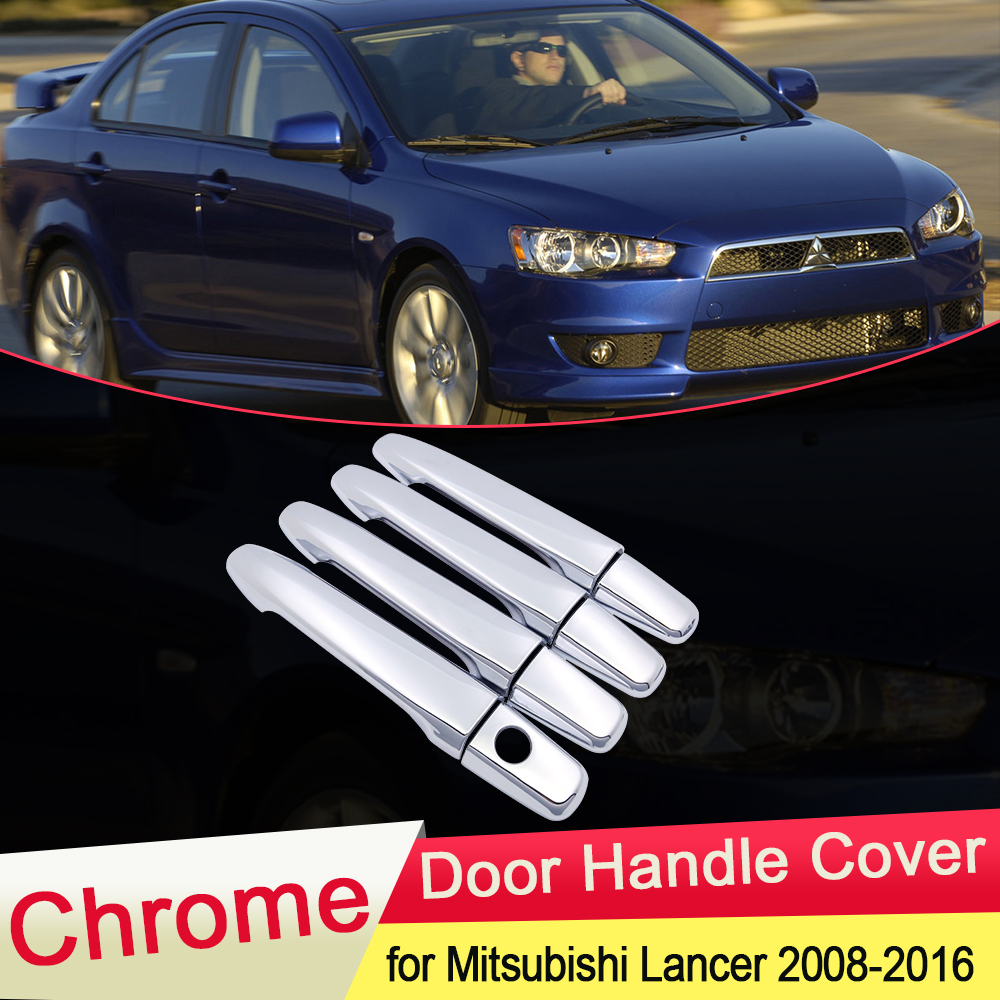 for <font><b>Mitsubishi</b></font> Lancer 10 2008 2009 2010 2011 2012 2013 2014 2015 2016 Chrome <font><b>Door</b></font> <font><b>Handle</b></font> Cover Trim Car Cap Stickers Accessories image