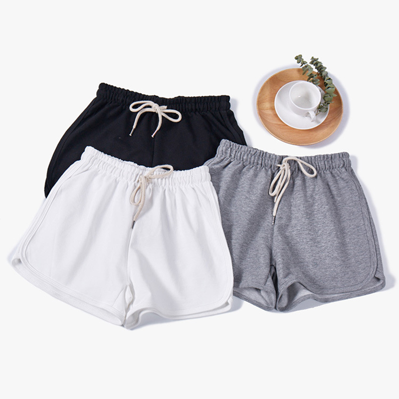 Summer Elastic Waist Cotton Shorts Women Solid Loose Width-leg Shorts Gym Sport Female Casual Breathable Simple Wild Sport Short