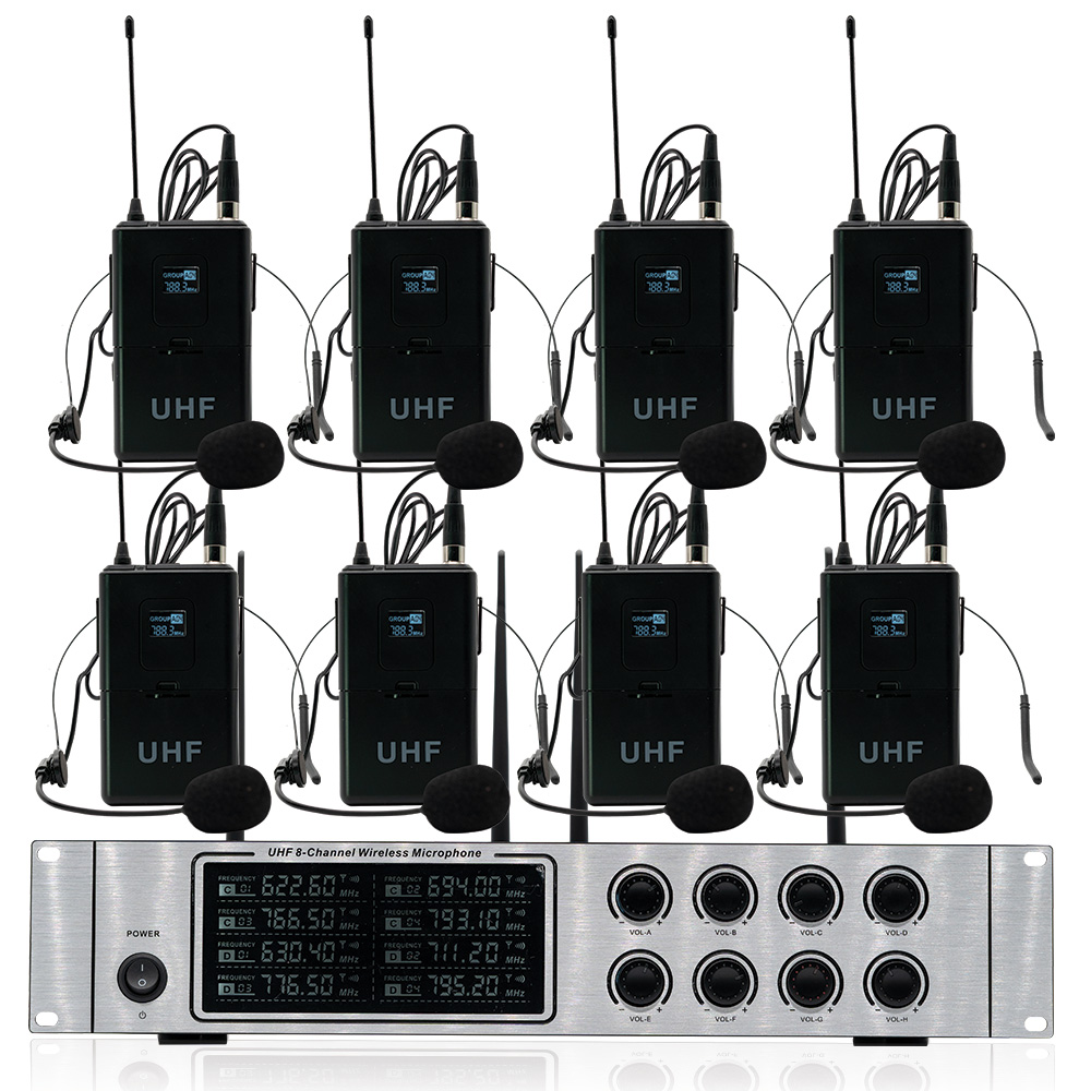 Wireless mikrofon system professional UHF kanal dynamische mikrofon 8 kanal bühne leistung lavalier mikrofon - 2