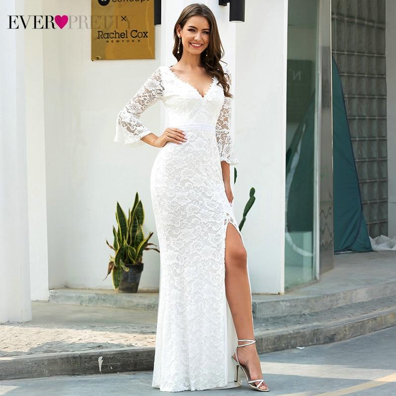 Sexy Lace Wedding Dresses Ever Pretty EP00617CR 3/4 Sleeve Side Split Deep V-Neck Zipper Mermaid Bride Gowns Robe De Mariee 2020