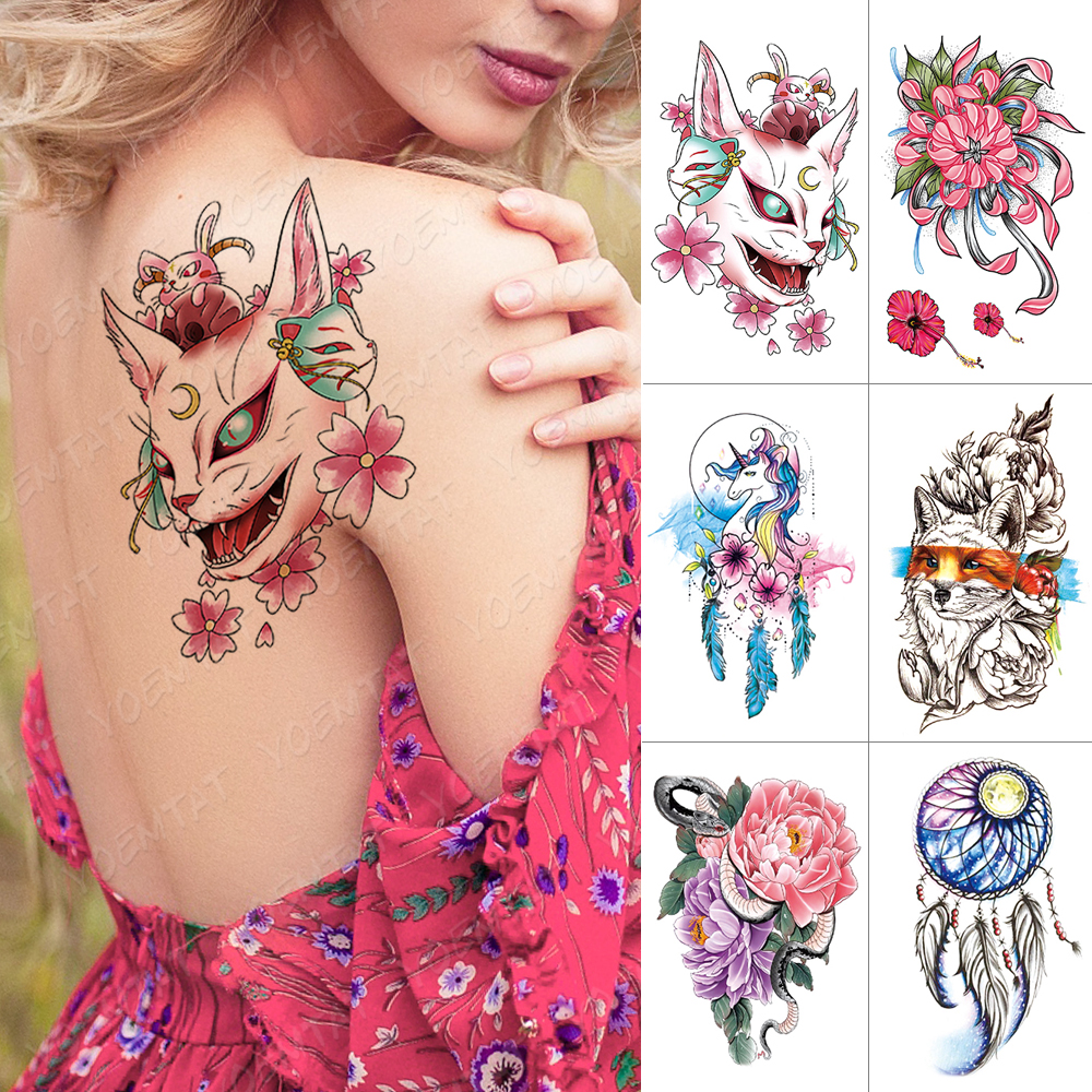 Waterproof Temporary Tattoo Sticker Cat Fox Dreamcatcher Flash Tattoos Peony Snake Unicorn Body Art Arm Fake Tatoo Women Men
