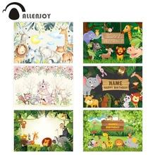 Allenjoy woodland animal photography background jungle elephant lion Kid birthday backdrop Safari Baby Shower photophone Banner