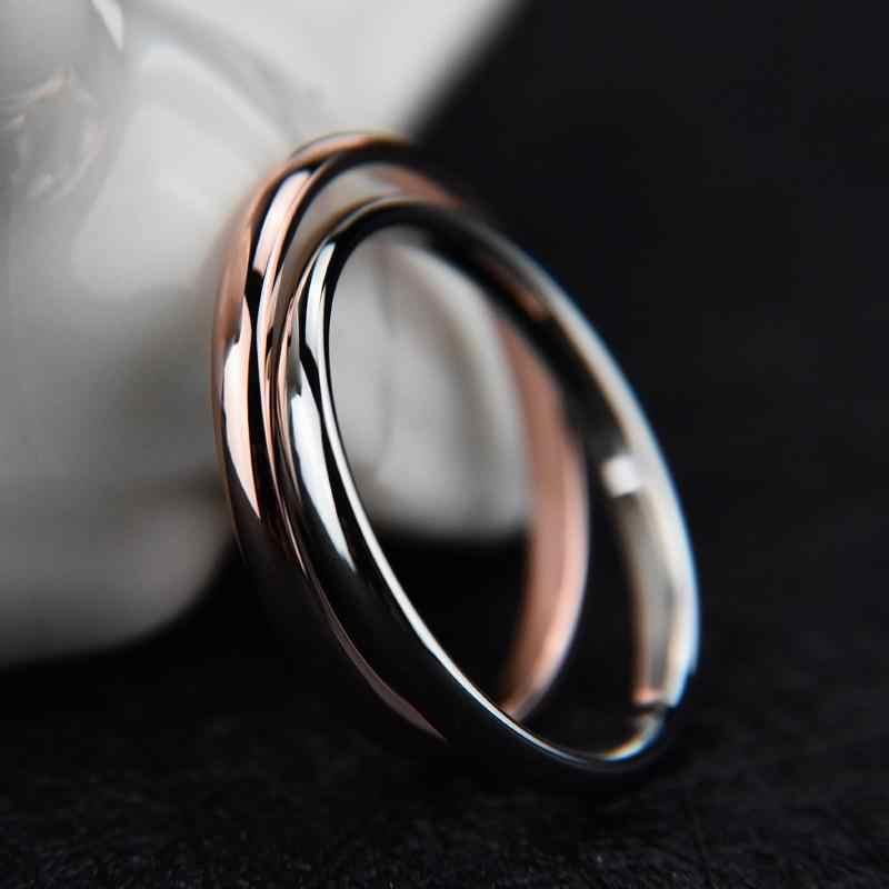 1PC Hot TITANIUM STEEL Rose Gold แหวน Anti-allergy Smooth งานแต่งงานคู่ Bijouterie แหวนผู้หญิงผู้ชายเครื่องประดับของขวัญ