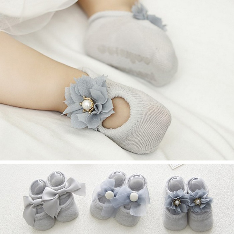 3 Pairs Cotton Baby Toddler Newborn Girls Anti Slip Lace Flower Bownot Floor Socks