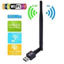 Беспроводной 600 Мбит/с USB WiFi роутер адаптер ПК сеть LAN Карта ключ с антенной wifi адаптер USB wifi