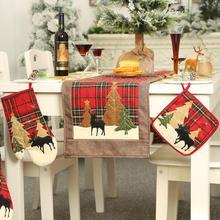 Рождественская клетчатая елка с принтом лося изоляционная подставка для микроволновой перчатки кухонные принадлежности кухонная микроволновка и практичная печь для выпечки