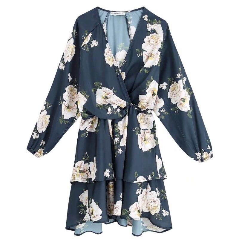2020 women elegant cross v neck floral print casual slim mini dress cascading ruffles vestidos elastic waist chic dresses DS3129