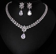 色最高品質ブリリアントクリスタルジルコンのイヤリングとネックレスジュエリーセットウェディングドレスのアクセサリー