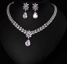 Boucles doreilles en ZIRCON de cristal brillant de qualité supérieure, ensemble de bijoux, accessoires de robe de mariée, couleur