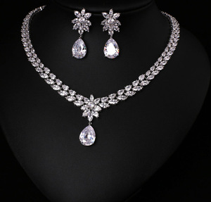 Image 1 - COlOR BEST QUALITY BRILLIANT CRYSTAL ZIRCON EARRINGS AND NECKLACE JEWELRY SET WEDDING DRESS ACCESSARIES