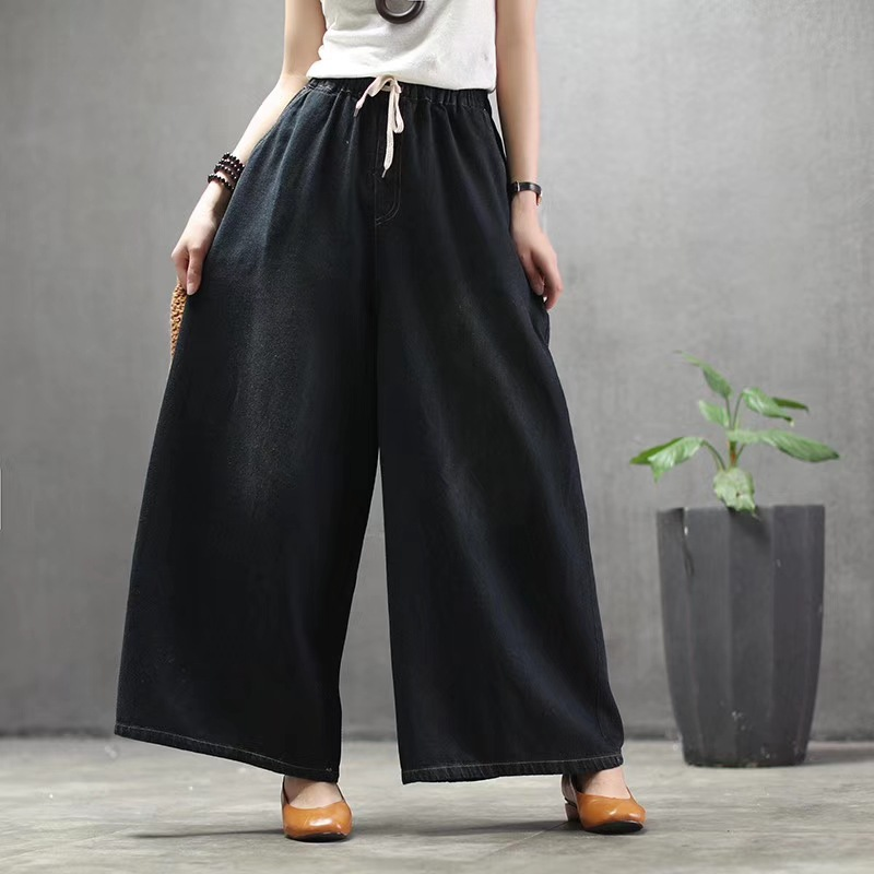 Best Seller Brand Wide Leg Pants Female Fashion High Waist Jeans Woman Streetwear Washed Loose Casual Pants Blue Plus Size New