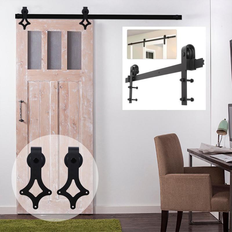 Прочная висячая направляющая для двери сарая для Европы, черная скользящая фурнитура для шкафа, деревянная дверь, комплект скользящей напр...
