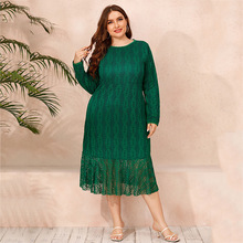 Autumn Dress Embroidery Evening-Party-Dresses Pleated Long Vintage Green-Ruffle Plus-Size