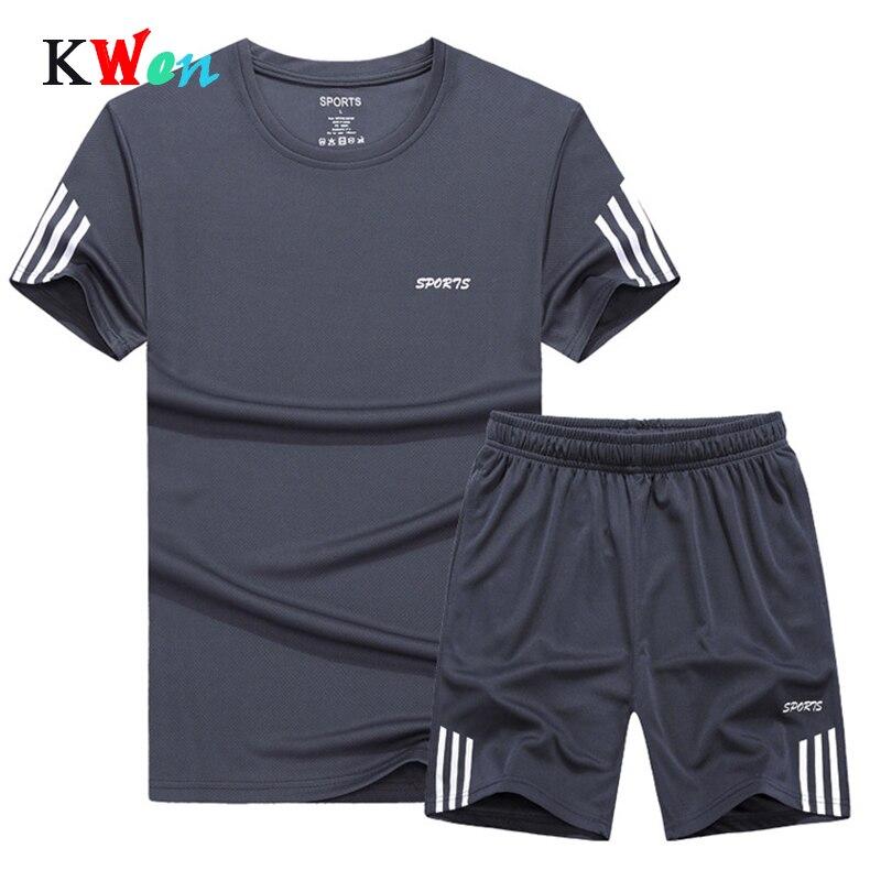 2019 Summer Set Men Casual Two Pieces Suit Short Sleeve T-shirt & Shorts Sets Male Streetwear Tracksuit Man Short Sportswear Set