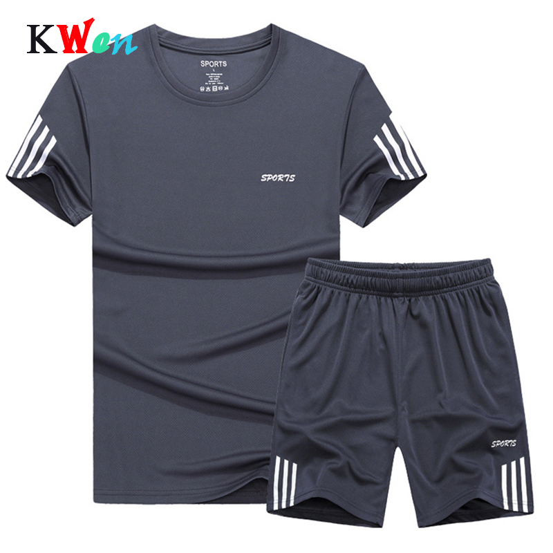 2019 Summer Set Men Casual Two Pieces Suit Short Sleeve T-shirt & Shorts Sets Male Streetwear Tracksuit Man Short Sportswear Set