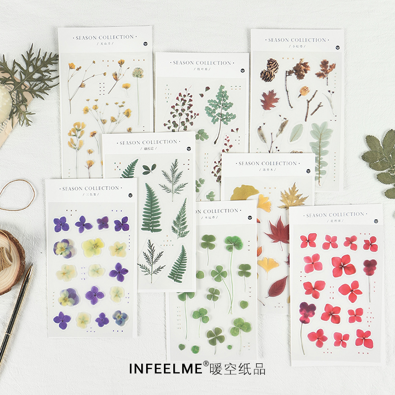 Four Seasons Collector Series Journal Decorative Stickers Scrapbooking Stick Label Diary Stationery Album Plant Leaves Sticker