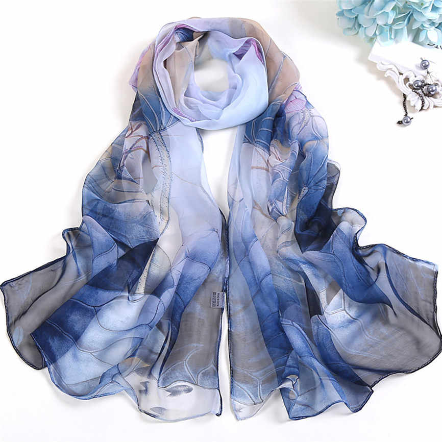 Women Scarves Lotus Printing Soft Long Wrap Scarf 2019 Summer Ladies Georgette Shawl Scarves Floral Neckerchief Echarpe
