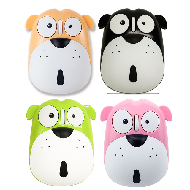 1pc Newest Power Saving Mute Rechargeable Wireless Mouse Cute Animal Puppy Mouse 2.4G Wireless Mouse Rechargeable Mouse 1
