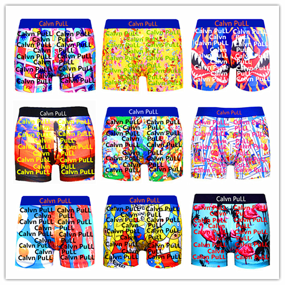 2020 New Arrivals Tops Brand Calvn PuLL Beach Underwear Men Boxer Shorts Sexy Flamingo Adults Underpants 100% Quick Dry S M L XL